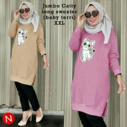 BR12483-2 - 47407 JUMBO CATTY LONG SWEATER - pink