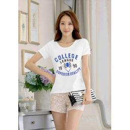 BR15507 - T-SHIRT PUTIH COLLEGE LEAGUE HITAM