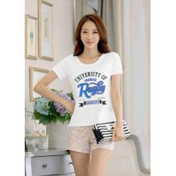 BR15509 - T-SHIRT PUTIH UNIVERSITY OF RUGBY BIRU