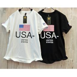 BR16475-2 - USA TSHIRT TUMBLR TEE - hitam