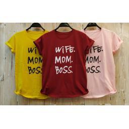 BR18047-1 - WIFE MOM BOSS TSHIRT TUMBLR TEE - kuning