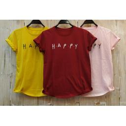 BR18146 - HAPPY TSHIRT TUMBLR TEE - pink