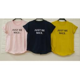 BR19214 - JUST BE NICE TSHIRT TUMBLR TEE - pink