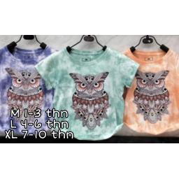 BR19816-4 - KAOS ANAK TIE DYE OWL - size L purple