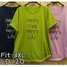 BR20203-2 - HAPPY MIND HAPPY LIFE TSHIRT TUMBLR TEE SIZE 3XL - hijau olive