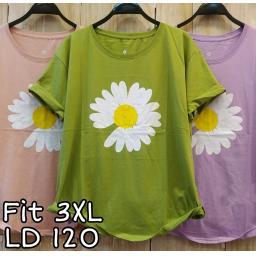 BR20204-2 - FLOWER TSHIRT TUMBLR TEE SIZE 3XL - hijau olive