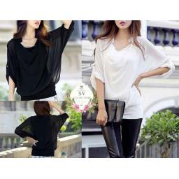 BR4507 - C15914 B&W BLOUSE INFINITY BATWING (SV COLLECTION) - PUTIH