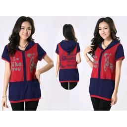 BR06476 - DRESS JERAPAH MERAH-NAVY